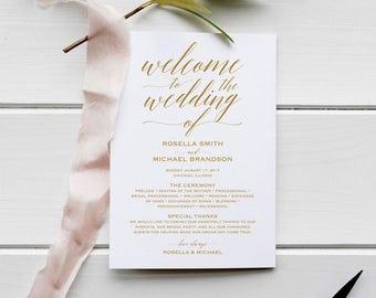Gold Wedding Program Template, Rustic Wedding Ceremony Program, Instant Download PDF template, Kraft Wedding Program, WPC_597SD1C