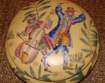"""Round Yellow Porcelain Box With Monkey BAND, 7"""" X 2.5"""", Oriental Covered Box"""