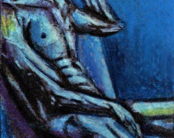original art aceo drawing figure blue abstract