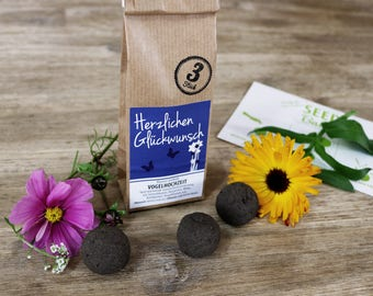 Special-edition Seedballs ' Bird Wedding-Congratulations '-3 or 10 pack Seedbombs with colourful floral mix