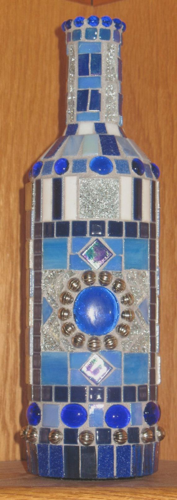 Decorative Bottle Art Mosaic Wine Bottle Glass Tiles Gift