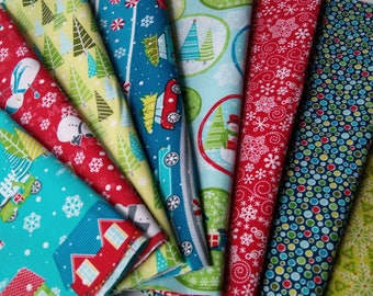 MULBERRY LANE Cherry Guidry Christmas fabrics Contempo Fabrics ~ 8 Fat Quarters Bundle ~ 2 yards total