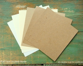 "100 Square Flat Cards: Choose 5"", 5.25"" or 5.5"" Recycled Blank, Rustic Kraft Brown, Light Brown, White,Natural White, Ivory, 65lb-100lb"