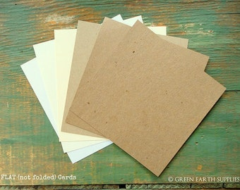 "100 Square Flat Cards Only: Choose 5"", 5.25"" or 5.5"" Recycled Blank, Rustic Kraft Brown, Light Brown, White, or Natural White, 65lb - 105lb"