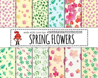 Flowers digital paper with HAND PAINTED FLOWERS for scrapbooking, cards, etc (1237)