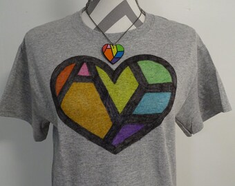 LGBT Ally Shirt - Hidden Message - LGBT Shirt - Rainbow Heart - Gay Pride Shirt - Equality Shirt - Rainbow Shirt - Vintage Style Clothing