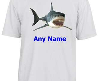 Personalised SHARK T Shirt  *Choice of name colours*