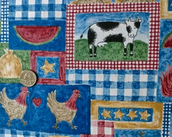 Farm Print Fabric 1 yard and 34 inches x 44 inches