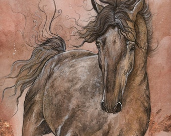 Dark grey arabian horse, equine art, equestrian portrait,  original gilded pen, watercolour and guache painting