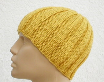 Mustard yellow beanie hat, skull cap, knit hat, toque, gold hat, ribbed hat, knit hat, toque, mens womens hat, chemo cap, ski skateboard hat