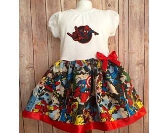 Super Hero Dress, Girl's Superhero Dress, Avengers Dress, Casual Comic Dress, Children's Super Hero Dress