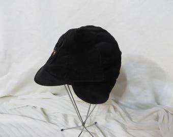 Vintage 50s Hat Boys Black Corduroy Hunting Dog Metal Medallion Ear Flaps Little Boy Dress Winter New Old Stock Cap
