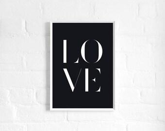 Love A3 Art Print, Black & White Poster, Monochrome Print, Love Sign, Typography Poster, Word Art, Love Art
