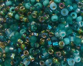 8/0 Miyuki and Toho Seed Bead Mix, 25 grams, Aquas/Teals/Emerald (0068)