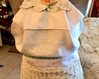 Apron Made From Vintage Linens, Doilies and Trim