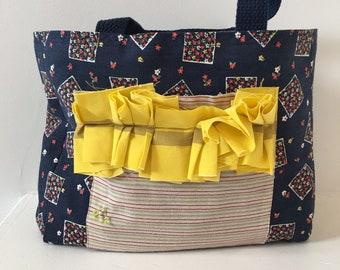 Girls Tote/ Ruffle Pocket/ Vintage Fabric Purse/ Girls Bag