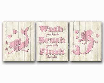 Girl bathroom wall art Wood wall decor kids bath artwork pink mermaid rules for children brush flush wash kids manners sea life whale poster