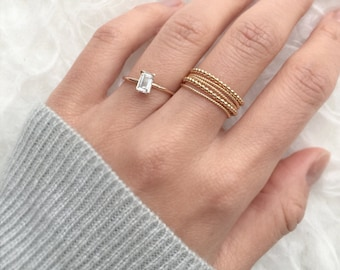 Engagement Ring, White Sapphire Ring, 14K ring, Unique engagement ring, Diamond alternative ring, Solid gold ring,jewelry, wedding ring