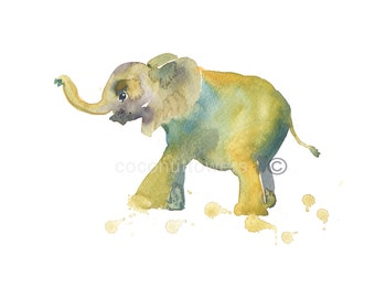 Children's Art - Elephant 5 - Animal Paintin - A4 11.7x8.3in -  Nursery Art Print - from an Original Watercolor  Painting