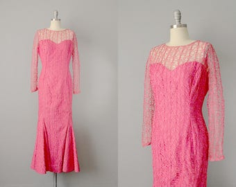 50s Dress // 1950's Pink Raffia Lace and Silk Mermaid Dress by Grace Poliner // S-M