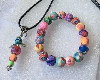 ApoloAngels Necklace & Bracelet set , bracelet random colors, Guardian Angel,Hope angel, gift set, Early easter SaLe price