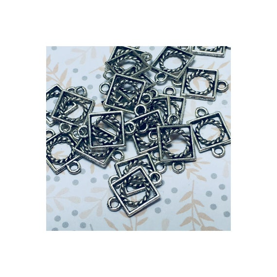 Antique Silver Square with Rope Circle Inside Links 15 x 8 mm - 10 Links