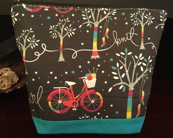 Yarn Bombing and Bicycle, Large Zippered Knitting Project Bag