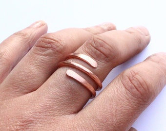 Hammered Copper Open Ring Wraparound Adjustable For Him or Her