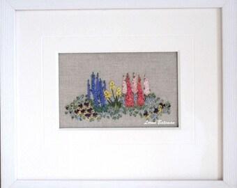 Spring Garden Silk Ribbon  - Full kit on linen