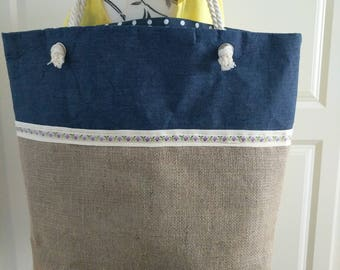 Large burlap holiday /beach tote bag