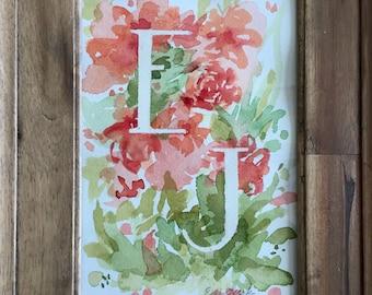 Custom Watercolor Monogram, Baby Shower Gift, Nursery Artwork, Watercolor Initials