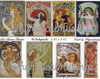 Digital Collage Sheet~ Art Nouveau ~ ATC~ Background~ Ephemera~ Instant Download