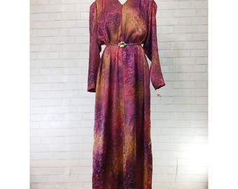 Vintage 80s NWT Designer Leigh Karmitz x Periphery at Bergdorf Goodman jewel tones lounge kaftan robe maxi dress