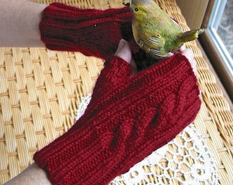 Red Fingerless Cable Texting Gloves,  Red Holly Berry  - Holiday Gift -  Women or Teen Size - Easy Care