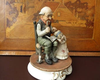 Capodimonte Group By Milio, Grandfather, Granddaughter Figurines - We Do Ship Overseas