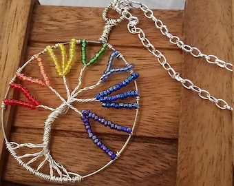 Rainbow/Chakra Tree of Life Pendant Necklace with silver chain options, beautiful and handmade