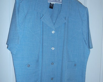 Woman's Pant Suit, Blue 2 piece suit, Plus Size 24, by Nanas Vintage Shop
