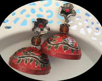 Red Flower- The Hand Painted Earrings in Jhumka Style
