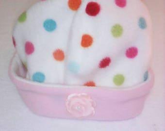 white polka dot fleece Hat