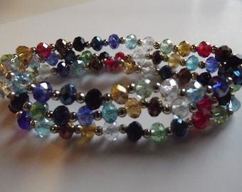 Sparkling Multi Color Bracelets Set Three Bracelet Stack