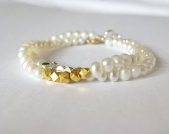 Pearl bracelet-freshwater cultured pearls and faceted sterling silver nugget beads-stacking bracelet-gold vermeil nugget beads bracelet