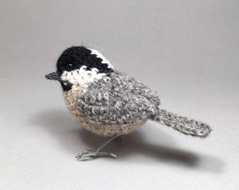 Coal tit realistic British bird crochet sculpture