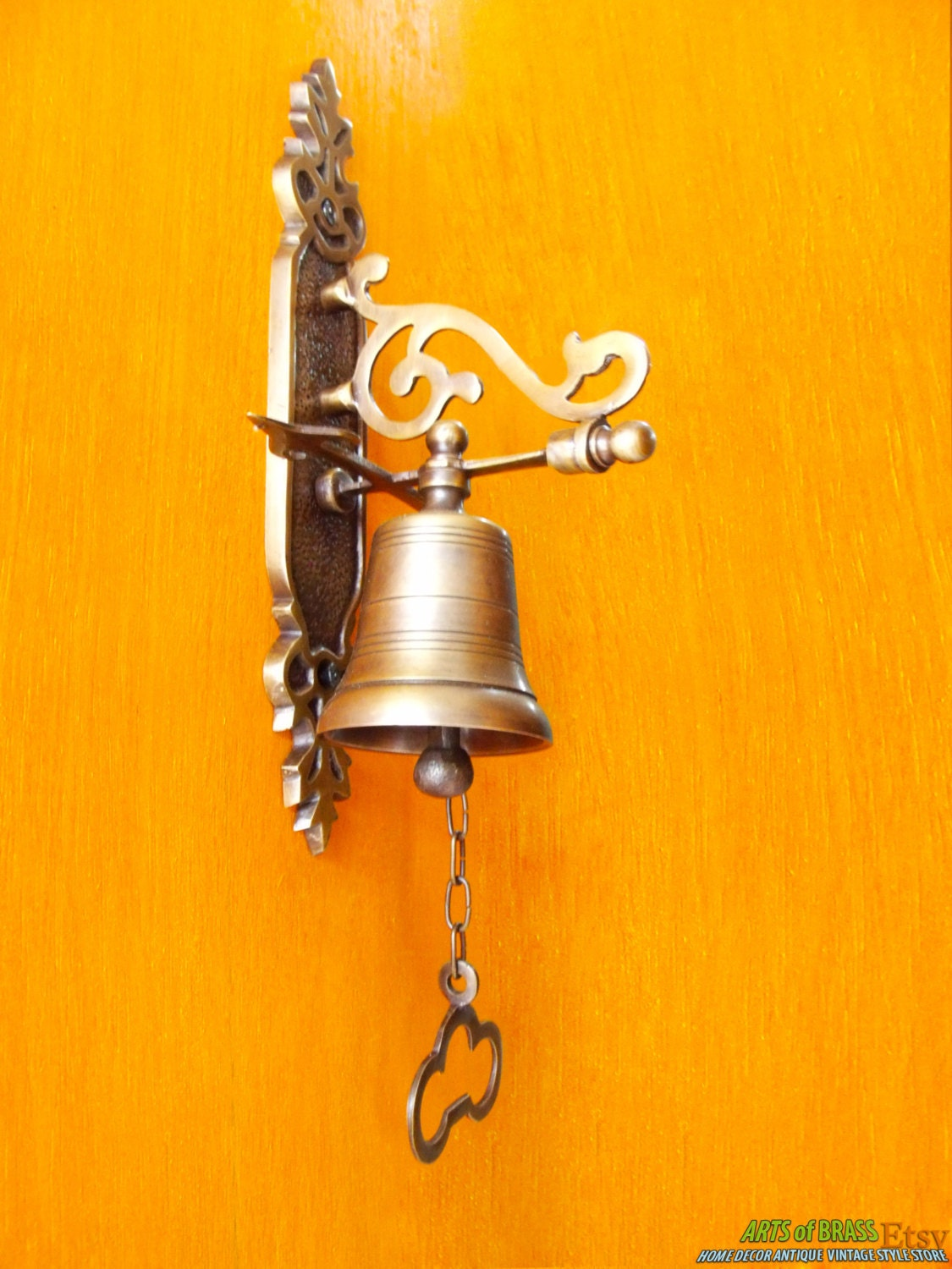 🔎zoom - 8.2 Inches Tall Vintage Antique Solid Brass Gate Front