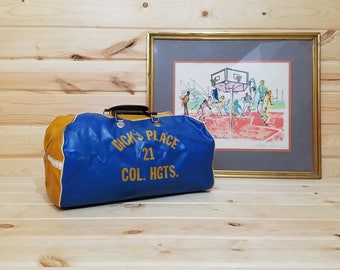 Blue Gold/Yellow and White Dick's Place Col/Columbia HGTS/Heights Health Spa Gym Sports Bag Carry On Travel Bag