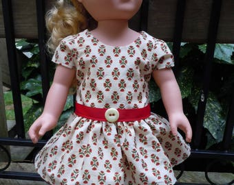 Red and green dress made to fit like American Girl doll clothes, AG doll clothes, 18 inch doll clothes, doll dresses. doll dress
