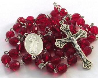 Divine Mercy Rosary Red Czech Glass Beads Handmade Catholic Devotional