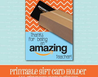INSTANT DOWNLOAD, Amazon Gift card Holder, Amazing Teacher, Gift Card Holder, Teacher Appreciation Gift, Printable, Printable Gift Card
