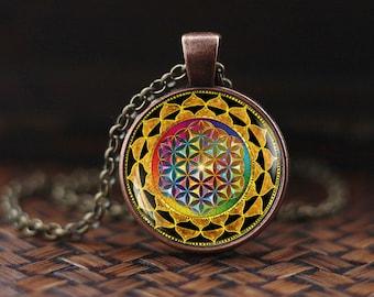 Flower of Life pendant, Sacred Geometry necklace, Flower of Life mandala, Yoga Pendant,  Flower of Life Jewelry