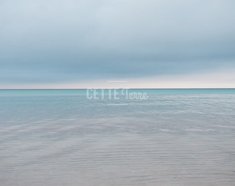 Beach Photography | Peaceful Blue Water | Bright Horizon | Hope | Lake Michigan