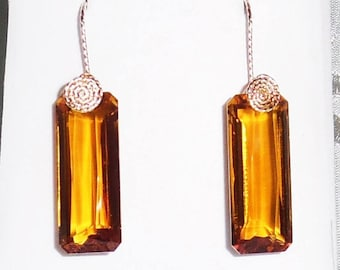 43ct Natural Octagon Madeira Citrine gemstones, 14kt yellow gold Pierced Earrings